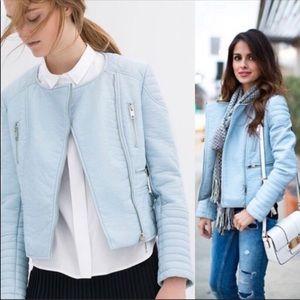 VGUC | Zara Baby Blue Moto Faux Leather Jacket